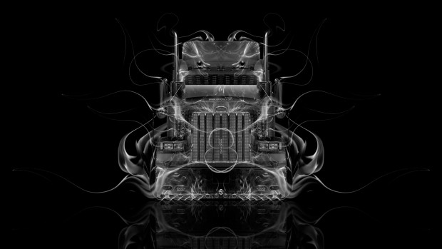Peterbilt-Front-View-Super-Fire-Truck-Car-2015-Creative-Black-White-Colors-HD-Wallpapers-design-by-Tony-Kokhan-www.el-tony.com-image