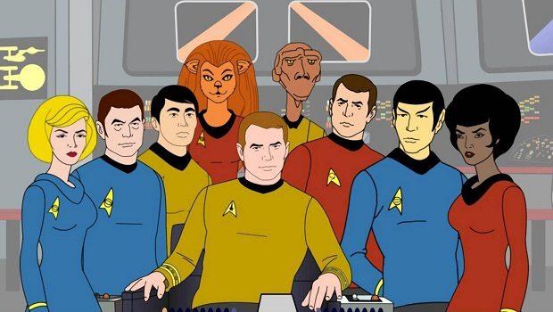 Soldan sağa. Hemşire Chapel, Dr. McCoy, Sulu, M'ress, Kaptan Kirk, Arex, Scott, Spock, Uhura.